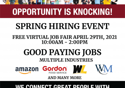 Free Spring Hiring Event April 29th, 2021